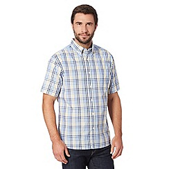 Maine New England - Big and tall yellow checked chest pocket shirt
