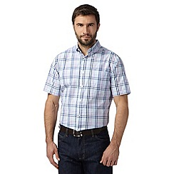 Maine New England - Big and tall lilac checked short sleeved shirt