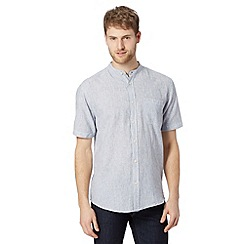 Maine New England - Big and tall light blue fine striped grandad shirt