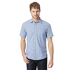 Maine New England - Big and tall blue two tone striped oxford shirt