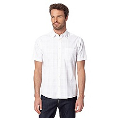 Maine New England - White cotton grid short sleeved shirt