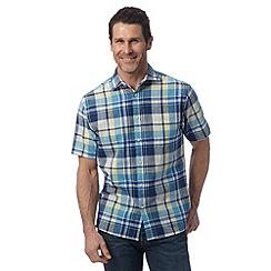 Maine New England - Blue checked linen blend shirt