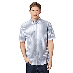 Maine New England - Navy striped short sleeved oxford shirt