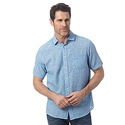 Maine New England - Bright blue linen blend shirt