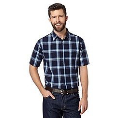 Maine New England - Navy textured checked shirt