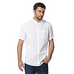 Maine New England - Big and tall white textured stripe short sleeved grandad shirt