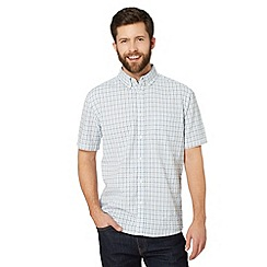 Maine New England - Big and tall light blue seersucker checked shirt