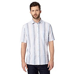 Maine New England - Big and tall blue pastel striped linen blend shirt