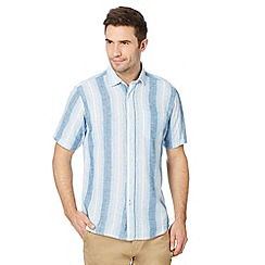 Maine New England - Big and tall blue ombre striped linen blend shirt