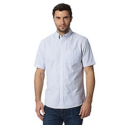 Maine New England - Big and tall white striped short sleeved shirt