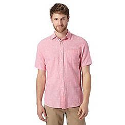Maine New England - Big and tall bright pink fine striped linen blend shirt