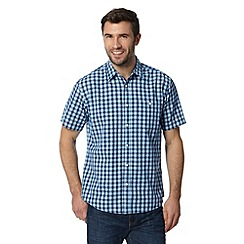 Maine New England - Blue small checked short sleeved shirt