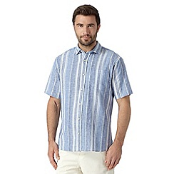 Maine New England - Big and tall blue nautical striped linen blend shirt