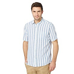 Maine New England - Blue bold striped linen blend shirt