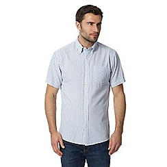 Maine New England - Big and tall white short sleeved striped seersucker shirt