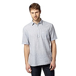 Maine New England - Light blue fine striped linen blend shirt