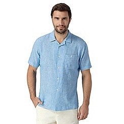 Maine New England - Bright blue textured linen blend shirt