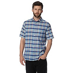 Maine New England - Big and tall blue bold checked chambray shirt