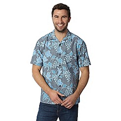 Maine New England - Blue floral print short sleeved shirt