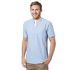 Maine New England - Pale blue textured striped mock layer short sleeved shirt