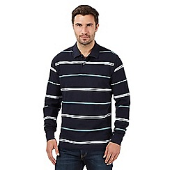 Maine New England - Navy striped pique polo top