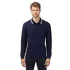 Maine New England - Big and tall navy tipped long sleeved polo shirt