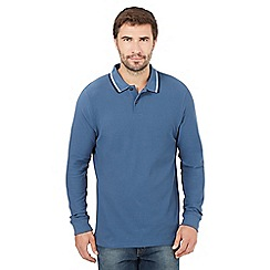 Maine New England - Big and tall dark blue tipped long sleeved polo shirt