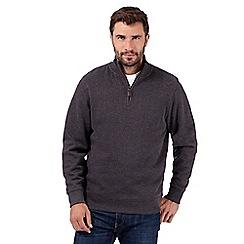 Maine New England - Big and tall dark grey ribbed jumper