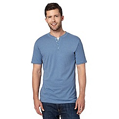 Maine New England - Blue mock layer notch t-shirt
