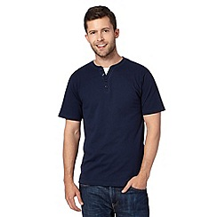 Maine New England - Navy mock layer notch t-shirt