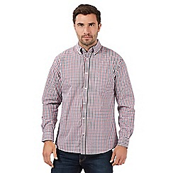 Maine New England - Big and tall red Nautical grid long sleeve shirt