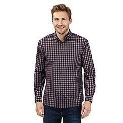 Maine New England - Big and tall maroon tonal checked shirt