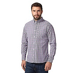 Maine New England - Big and tall plum checked long sleeved shirt