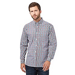 Maine New England - Big and tall blue checked long sleeve shirt