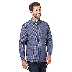 Maine New England - Blue micro grid long sleeved shirt