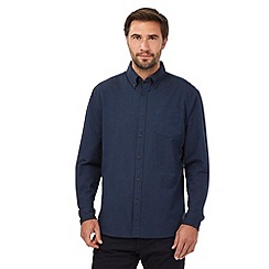 Maine New England - Navy oxford cotton long sleeved shirt