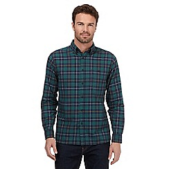Maine New England - Big and tall green checked oxford shirt