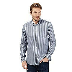 Maine New England - Big and tall navy highlighted stripe shirt