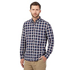 Maine New England - Big and tall blue check print buttoned shirt