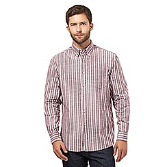 Maine New England - Dark red slub striped regular fit shirt