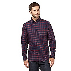 Maine New England - Big and tall dark blue and red checked regular fit shirt