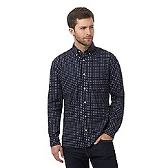 Maine New England - Navy tiled print shirt