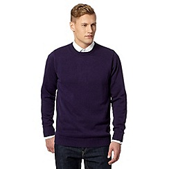 Maine New England - Purple plain ribbed crew neck jumper