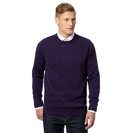 Maine New England - Big and tall purple plain ribbed crew neck jumper