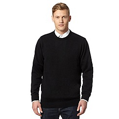 Maine New England - Black plain ribbed crew neck jumper