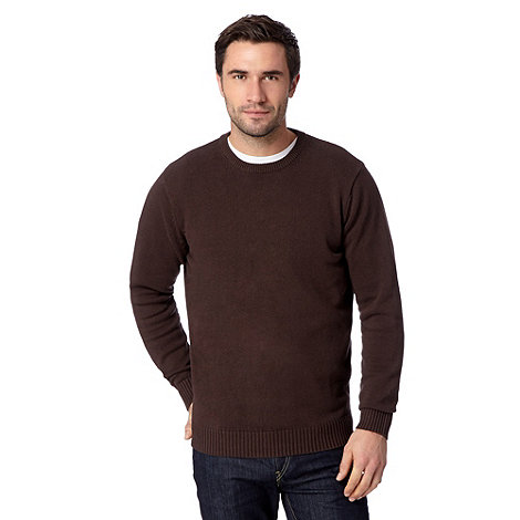 Maine New England - Big and tall chocolate brown plain ribbed crew neck jumper