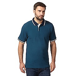 Maine New England - Big and tall dark green contrast collar polo shirt