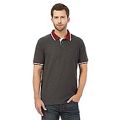 Maine New England - Big and tall dark grey contrast collar polo shirt