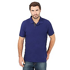 Maine New England - Big and tall dark purple contrast placket polo shirt