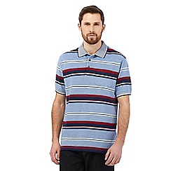 Maine New England - Big and tall royal blue striped pocket polo shirt